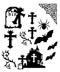 Halloween, gothic ,crosses,gravestones 110 x 180mm min buy 3